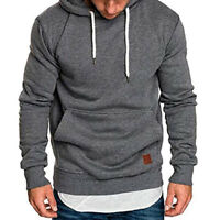 Mens Peak Fleece Lined Hooded Overhead Pullover Jumper Top Fashion Hoodies US
