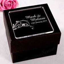 Personalised Engraved Wedding Coaster Acrylic Favour Bomboniere Gift Custom Made