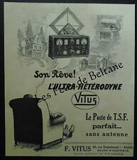 Publicité ULTRA HETERODYNE VITUS TSF   advert 1927