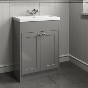 600mm Bathroom Vanity Unit Basin Sink Storage Cabinet Furniture Grey Traditional