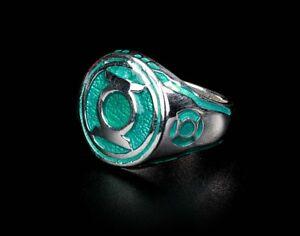 Green Lantern Ring  Sinestro Corps Power Ring Green Enamel 925 Sterling Silver