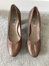 Women's Clarks Bronze Metallic Leather Block Heel Shoes UK Size 6 EU 39.5