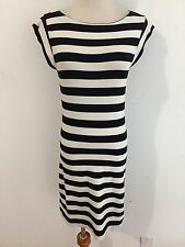 French Connection Boat Neck Knit BodyCon Dress Cap Sleeve Beige & Black Size 6