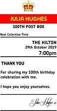 Birthday 100  sign  4' x 7.5'  royal mail insert post box Card Box