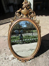1940-60 Syracuse Co NY Syroco Wood Oval Wall Mirror Gold & Brown Wood Wash 16x31