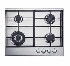 Iberna Bghu 610SS 4 Burner Gas Hob in Stainless Steel & Cast-Iron Pan Supports