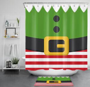 Christmas Elf Shower Curtain Set Clothing Belt Stripes Bathroom Decor w/ Hooks