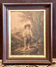 Antique Vintage Prang 1868 Whittier's Barefoot Boy Chromolithograph Framed 1st P