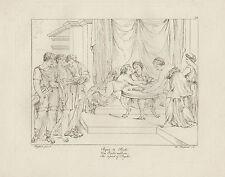 1805 Raffaello incisione in acciaio Il pasto di Psichè