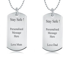 Stay Safe Personalised Single Army Dog Tags Name Necklace Silver Plated Gift UK
