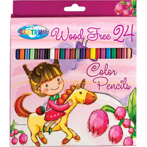 Wood Free Hexagonal Colour Pencils  24 Assorted Colours Long Size Drawing
