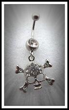 Skull & Bones Belly Bar Ring,Naval,Body Jewellery,Charm,Gift,Pierced,Skeleton