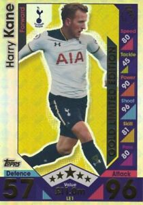 Match Attax 2016/2017 Harry Kane Gold Limited Edition Plus 5 Trading Cards