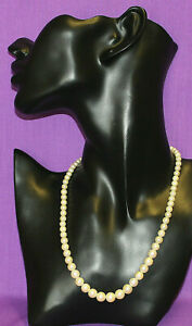 Vintage Graded Faux Pearl Choker Necklace Cleaned Re-Threaded Beautiful 0521