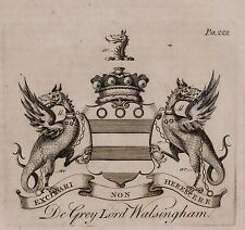 1779 ANTIQUE PRINT ~ DE GREY ~ FAMILY CREST COAT OF ARMS LORD WALSINGHAM