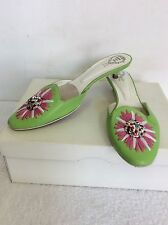 RODO GREEN LEATHER JEWEL TRIM & PINK FLOWER DESIGN KITTEN HEELED MULES SIZE 5/38