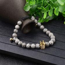Men Women Exquisite Zircon Crown Charm Bracelets Landscape Stone Bracelets Gift