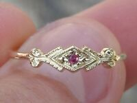 14K Yellow Gold 1 Stone Red Natural Ruby Vintage Engraved Milgrin Ring Size 7.75