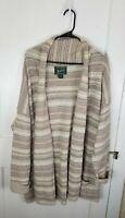 Woolrich Shawl Collar Beige Striped Lambs Wool Cardigan Sweater Wrap Women Large