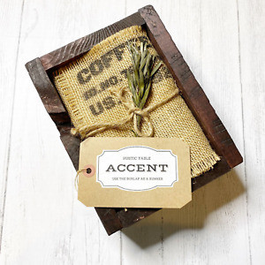 Rustic Table Accent Wooden Box Pine Cone Moss Burlap Runner