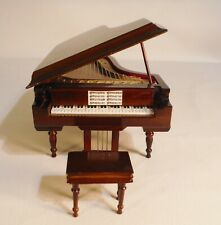 1:6 Scale Wooden Piano With Bench Stool Dollhouse Miniature Music Box With Case