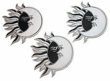 Sun Meets Moon Black and White Embroidered Iron On Patch Set of 3 Patches
