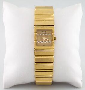 Piaget Polo Quartz Diamond Dial 18k Yellow Gold Women's Watch 458116