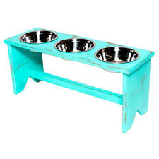 """Elevated Dog Bowl Stand - Wooden - 3 Bowls - Same Size Bowls - 300 mm/12"""" Tall"""