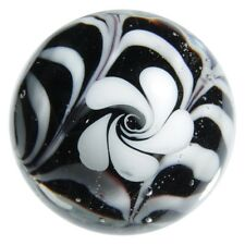 22mm HOCUS POCUS flower Handmade Contemporary art glass BLACK/WHITE Marble 7/8""