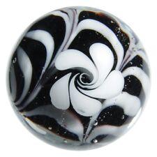 "22mm HOCUS POCUS flower Handmade Contemporary art glass BLACK/WHITE Marble 7/8"""