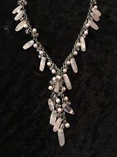 Elegant Pink Rose Quartz Gemstone And Beaded Drop Cluster Necklace
