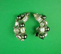 Vintage Signed BOGOFF Silvertone Faux Black Pearl & Rhinestone Clip On Earrings