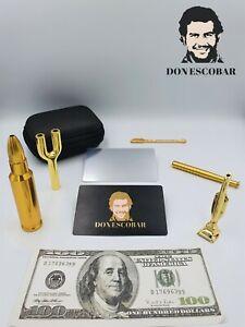 DON ESCOBAR Premium Luxus Gold Schnupftabak Ziehröhrchen Set Dosierer