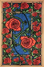 3D TAPESTRY-ROSE WINDOW-100% COTTON-60X90 WALL HANGING-w/ GLASESS  Grateful Dead