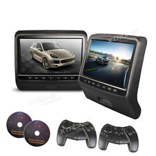 "2pcs 9"" inch HD TFT Headrest Car DVD Player Rear Monitor with Pillow 2 DVD Games"