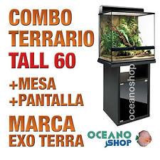 COMBO TERRARIO DE CRISTAL REPTILES+MESA+PANTALLA 60 TALL 60x45x60 cm Exo Terra