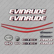 Evinrude 60 hp ETEC outboard engine decals sticker set reproduction Blue Cowl