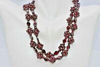 "Antique Victorian Cluster Garnet Bead Necklace 26"""