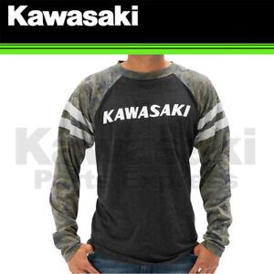 NEW GENUINE KAWASAKI SMALL HERITAGE CAMO LOGO LONG SLEEVE T-SHIRT