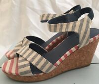 Shoe the Bear Womens Alec Stripe Wedge Heels Sandals UK Size 5.5 / 6 RRP £100