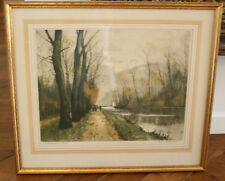 "SIGNED HENRI JORDAIN COLOR ETCHING ""CANAL EN AUTOMNE (FRANCE)"" VINTAGE ANTIQUE"