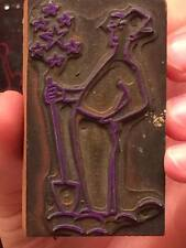 """Antique Printing Block  """" Male comic with a shovel and stars """""""