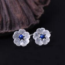 Damen Ohrhänger Ume Blüte Bergkristall Lasurit echt Sterling Silber 925 Ohrringe