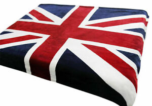 Soft Faux Fur UNION JACK Mink Throw Blanket Bedspread - Bed Sofa (Double & King)