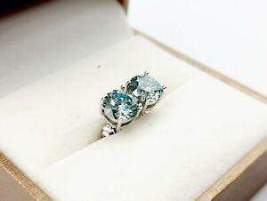Orecchini Diamante in Moissanite 1ct light blue GRA diamond earrings punto luce