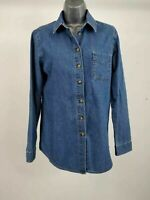 WOMENS ASOS DENIM LIGHT WASH BUTTON UP SHIRT LONG SLEEVE TOP UK 4
