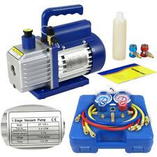 Dual Gauge A/C Diagnostic Manifold Tester Set R134a + 3CFM 1/4HP Vacuum Pump KIT
