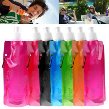 480ml Outdoor Sports Folding Collapsible Portable Water Bag Pouch Bottle Plastic