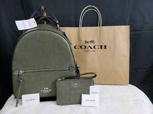NWT Coach Jordyn Backpack Wristlet Wallet Set Signature Logo Bundle Green Bag