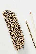 Anthropologie Pencil Case Pouch Bag Animalia Leopard Calf Hair Leather Animal